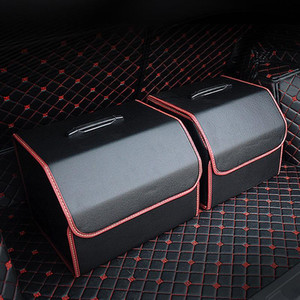 Car Storage Bag PU Leather Trunk Folding Car Storage Stowing Tidying Auto Trunk Box Organizer Accessories