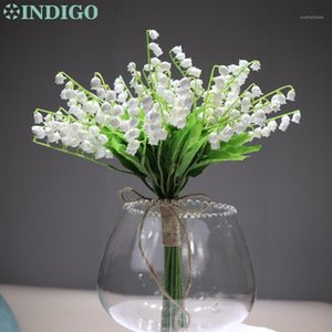 Indigo-18 unids Blanco Convellaria Ramo de boda novia Posy Flower Lily of the Valley Event CenterPiece Flower Envío gratis1