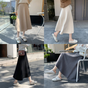 JIIYj WEPBEL Sexy Women Leather Slimming Skirts High Long Slim-Fit Crotch Cover Knitting Lace Up Skirt Skirts Solid dolly Casual Slit