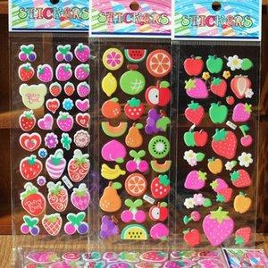 Мода марка Дети игрушка мультфильм фрукты автомобили 3d наклейки Детей девушек Поливинилхлоридных наклеек пузырь наклейка игрушка F20171692