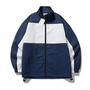 giacca uomo tuta sportiva del rivestimento della stampa della lettera a vento oversize mens giacche ricamo del cappotto di modo di accoppiamenti di colore Windbreaker cappotto 2