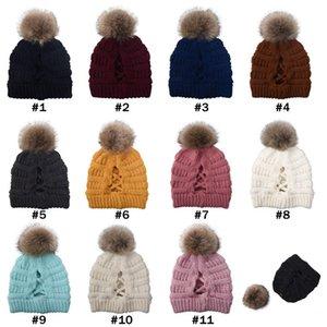 Pom Beanie Çapraz at kuyruğu Beanie 11 Renkler Kış Sıcak Örme Yün Şapka Kadınlar Kayak Kafatası Zza Caps