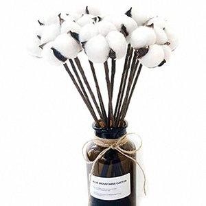 10 Cotton artificiale pacchetto Boll filo di ferro staminali fai da te fiori Puntelli casa Matrimonio hotel decorazione del partito Circa 13 pollici ad alta Fc4K #