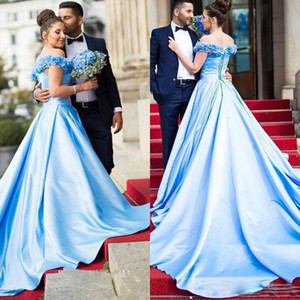 Ligh Sky Blue Hand Made Flowers Prom Dresses Dubai Arabic pageant gowns Occasion Evening Party Dress Corset Quinceanera Dresses vestidos