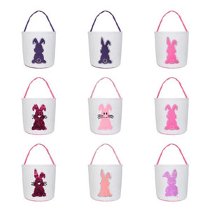Sequins Bunny Buckets Easter Baskets Monogrammable Easter Egg Buckets Totes Egg Hunting Bag Kids Gift Organizers 12 Colors Lxl1251