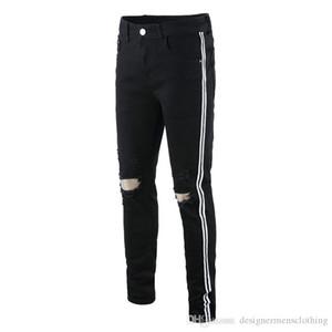 Heiße Männer Designer Loch Schwarz Jeans Grün Rot Band Stretch Herren Jeans Mode Herren Bleistifthose