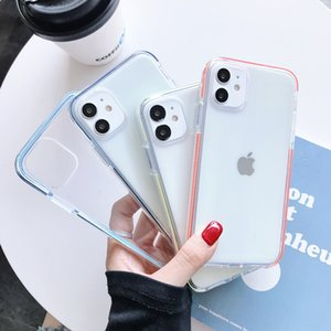 Transparent Simple Candy Color Phone Case For iPhone 12Mini 11 Pro X XR XS Max 6S 7 8 Plus Couples Clear TPU Back Cover For i12