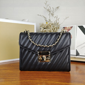 Trasporto libero 2021 borsette di cuoio di alta qualità da donna calda borse di alta qualità borse a tracolla bellissima borsa a catena a strisce a spalla in stile europeo