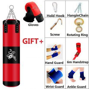 60/80/100/120cm Boîte de poinçonnage de boxe avec gant suspendu Sandbag Heavy Boxing Fight Muay Thai Karate Training Sac de sable