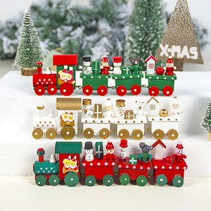 Painted Mini Train Wooden Christmas Decoration for Home with Santa Kids Toys Ornament Navidad New Year Gift