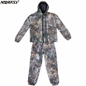 Professional Summer Bionic Camo Fishing Suit Anti-mosquito Hooded Camo Hunting Clothes Front Zipper Camouflage Jacket Pants