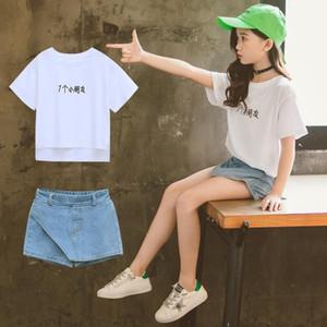 Girls Clothing Set 5 6 7 8 9 10 11 12 Years Toddler Girl Clothes Set Summer Short Sleeve T-shirts + Denim Shorts 2pcs Tracksuit
