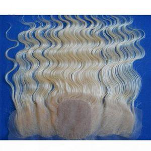 9A rusa Rubia seda base del cordón de cierre frontal blanqueados nudos # 613 Bleach Blonde cordón de seda frontal del pelo Europea onda del cuerpo llenas superiores de 13x4