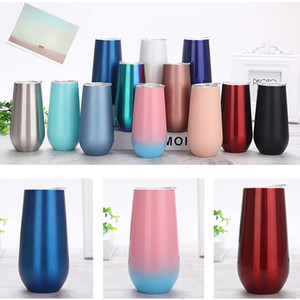6oz Mug 19 Colors Champagne Glasses Stainless Steel Tumbler Beer Wine Glasses Vacuum Insulated Cups HH9-3539
