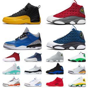 Оригинальные 13 Flint 13s Мужчины Женщины обувь 3 UNC 3s ово 12 камень Синий 12s университет Золото Флинта 2020 Кроссовки Кроссовки Размер 13