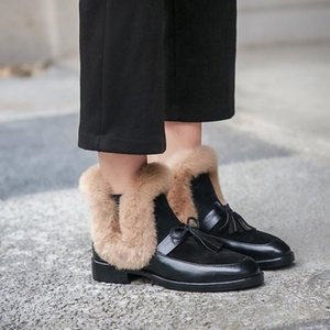 Womens Real Fur Bowtie Tassels Ankle Boots Mule Princetown Shoes Mules Genuine Leather Warm Winter Furry Thick New 2020
