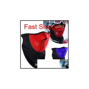Bicycle Cycling Motorcycle Half Face Mask Winter Warm Outdoor Sport Ski Mask Ride Bike Cap Cs Mask Neoprene Snowboard Neck Veil Mk881 Kx0Nm