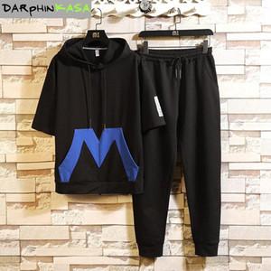 Darphinkasa Hombre Set 2020 Traje de verano Ropa para hombre Ropa Casual Imprimir Sudadera de algodón Dos piezas traje camisetas + pantalones1