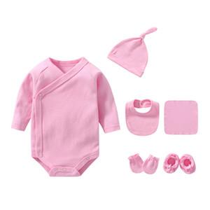 2021 Bodysuits 6pcs Pyjamas Définit Baby Girl Vêtements Vêtements Solid-né Baby garçon Vêtements Ensembles de vêtements en coton Unisexe à manches complètes Ropa bebe Q0104