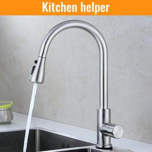 Faucet de níquel escovado torneira Único buraco puxar para fora bico de cozinha mixer mixer tap stream pulverizador cabeça cromo / preto mixer toque