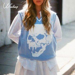 Weekeep Y2K Pullunder Skulls Print Pullover mit V-Ausschnitt Strick lose beiläufige gestrickte Tank Top Frauen Street Tops Blau 2020 New