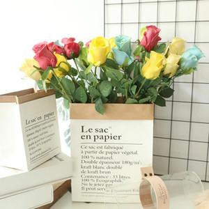 Искусственный цветок PU Rose Long Branch Цветы Поддельные Цветы День Святого Валентина Lover подарков Свадебные украшения дома 5 цветов YG751