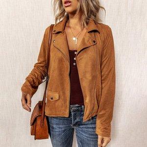 Giacca Donna Street Fashion Autunno Inverno solido camoscio marrone Colore Zip casuale a maniche lunghe cappotti Top