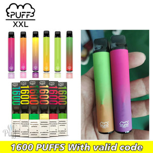 Puff XXL préremplies 1600 bouffées vapes à usage unique bâton dispositif pod E-Cigs prix pas cher avec le code zéro