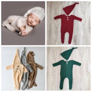 Menina DonJudy Crochet Acrílico Mohair FOTOGRAFIA Fotografia recém-nascidos Roupa Natal Props Boy Hat Romper Set Photo Studio 2020 1028