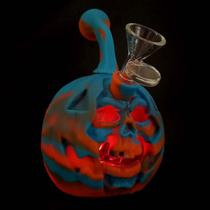 Halloween pumpkin153*100mm water pipe glass smoking pipe glass bong food grade Silicone Water Pipes hookah shisha Dab Rig Recycler