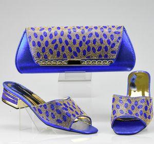 Голубой цвет Итальянские женские ботинки и сумки, украшенные горный хрусталь Африканская обувь и сумка для вечеринки у женщин Италия Обувная сумка LJ200924