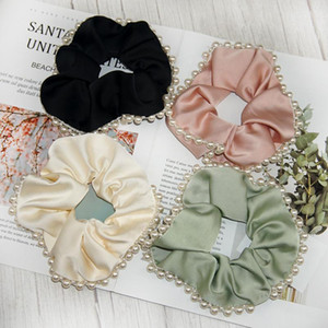 High Quality Silk Pearl Elastic Hair Band For Women Hair Accessories For Girls Crystal Tie Rubber Band Scrunchies