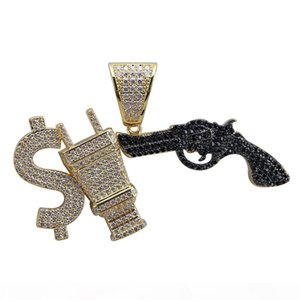 Hip Hop Iced Out Dollar Sign Plug With Gun Pendant Necklace Micro Paved Cubic Zircon Gold Silver Charm Chain for Men