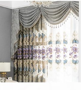 2020 hot sale New grey living room jacquard Chenille European-style embroidered curtain villa bedroom balcony window screen customized 09
