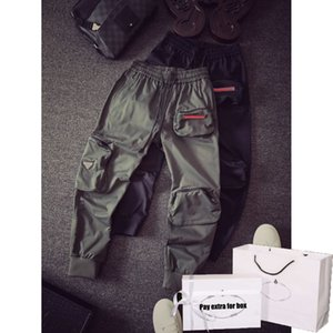 Mens Fashion Jogger 20FW New Boys Hiphop Streetwear Autumn Overalls Boys Pants with 3 Pockets Letters on Casual New Drawstring Sweatpants