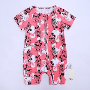 Cross-Border Childrens Short-Sleeved Newborn Romper Double Zipper Jumpsuit Printed European and American Baby Clothes One Piece