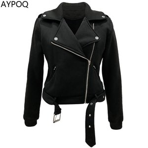 AYPOQ Autumn Women Zippers Jacket Casual Female Outwear Short Top Coat Black White Outer Garments Turndown Collar Streetwear