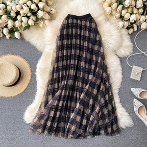 All-match Women Popular Mesh Skirt Medium Long High Waist British Elegant Retro Plaids Mesh Skirt