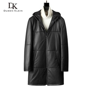 Mann-echtes Leder-Jacken-Leder-unten Mäntel Winter warm langen Mantel mit Kapuze Schaffell + Duck Down 5XL 1872
