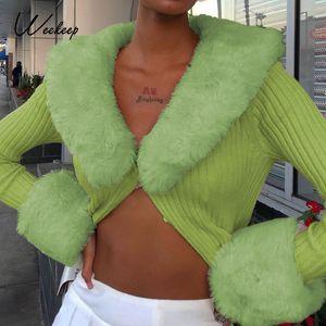 Weeeep Y2K Kazak V Yaka Kıyafetler Tüy Patchwork Triko Düğme Hırka Kadın Streetwear Moda Kulübü Parti Katı Tops 201017