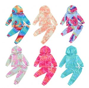 New 18M-6Y Baby Girls Tie Dye Clothes Sets Baby Girl Long Sleeve Hoodies + Kid Pants Kids Outfits Set Toddler