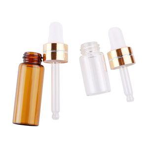 3 ml 5 ml de vidro transparente Brown plástico conta-gotas garrafa portátil Essencial Vidro Oil Perfume Amostra Garrafa Teste DWD3004