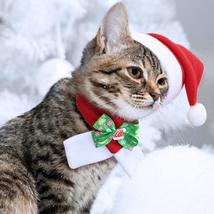 Christmas Dog Cat Hat Scarf Set Pet Accessories For Small Dogs Cats Winter Warm Costume Cap Cute Dog Bow Tie Necktie bbyCcC