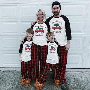 Родитель-ребенок Рождество Семья Пижамы Xmas Дизайн Matching с длинным рукавом плед Брюки и джинсы Двухкусочный Одежда Взрослые Дети Outfit E110203