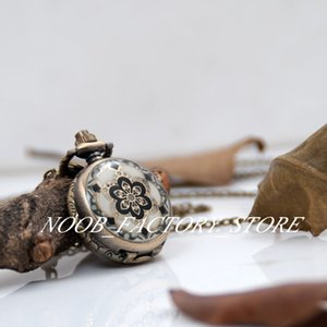 New Quartz Vintage Small Epoxy Diamond Flower Pocket Watch Necklace Jewelry Wholesale Sweater Chain Fashion Gift Watch Bronze Color Steel