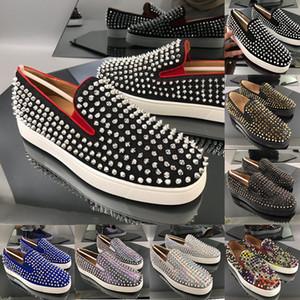 Australie Plate-forme des femmes des hommes Chaussures Casual Haute Qualité New Mode Chaussures Rouge Bas Slip-On Spikes Argent Adorn grande taille 12 Embout protecteur 13