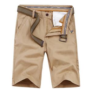 HTLB Erkekler Yaz Yeni Rahat Gevşek Fit Dimi Cepler Kargo Kısa Pantolon Erkekler Katı Renk Kuşaklı Messenger Kargo Şort Pantolon