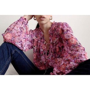 Boho Inspired pink floral blouse women vintage long sleeve shirt and blouse plus size women clothing party ladies tops