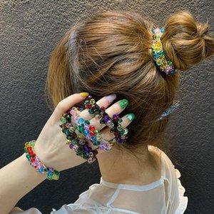 Haimeikang Elastic Scrunchies Korean Fashion Crystal Beaded Rubber Ties Bands Women's Hair Accessories Head rope Headdress
