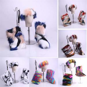 겨울 여자 여우 모피 모피 부츠 패션 럭셔리 미끄럼 방지 눈 부팅 여러 가지 빛깔의 봉제 신발 모자 가방 3PCS 세트 플러스 사이즈